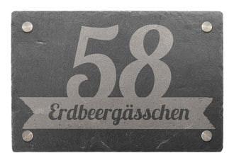 Hausnummer aus Schiefer mit Wunschtext 30 x 20 cm - Design Banner