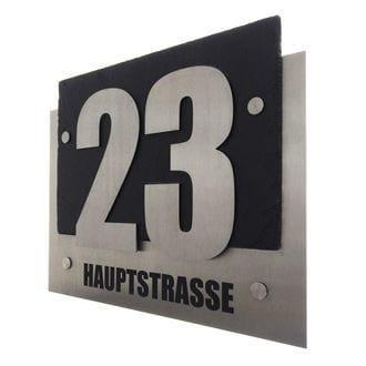 Hausnummer auf Schiefer und Edelstahl mit Straßennamen 340 x 270 mm