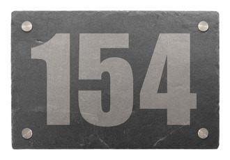 Hausnummer aus Schiefer mit Wunschtext 30 x 20 cm - Design Minimal