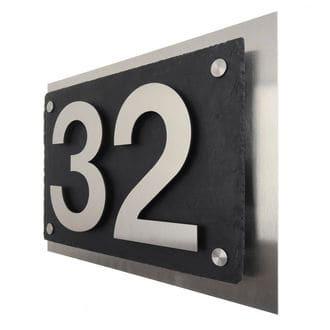 Hausnummer auf Schiefer und Edelstahl 340 x 240 mm