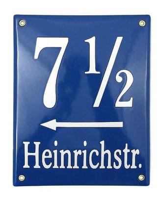 Münchner Emaille Hausnummer mit Straßenname 20 x 25 cm