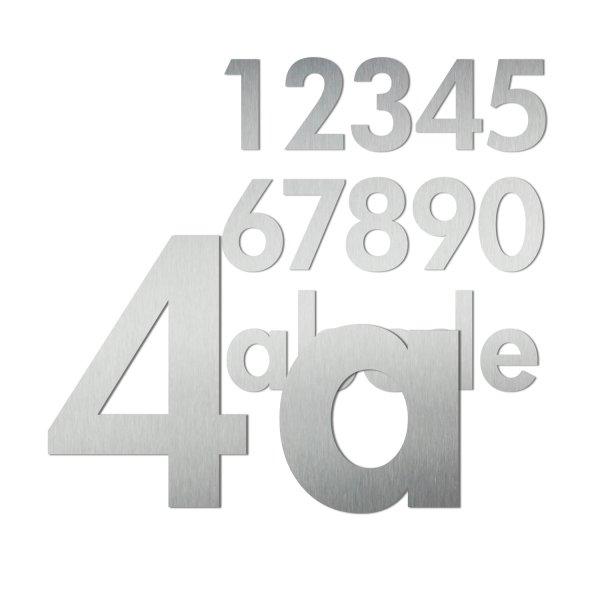Edelstahl Ziffern als Hausnummer im Design Futura