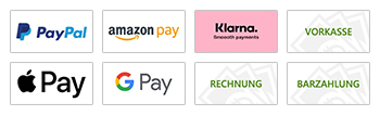 Paypal, Amazon Pay, Klarna, Vorkasse, Stripe, Google Pay, Apple Pay, Rechnung, Barzahlung