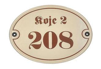 Ovale Emaille Hausnummer mit Straßenname - 21 x 16 cm