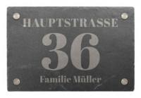 Hausnummer aus Schiefer mit Wunschtext 30 x 20 cm - Design Classic