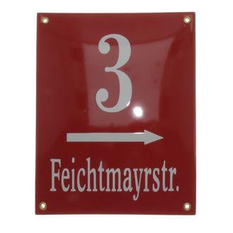 Emaille Hausnummer mit Straßenname und Pfeil 20 x 25 cm