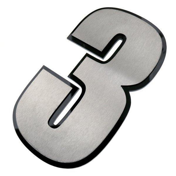 Hausnummer aus Edelstahl mit einer Kontur aus Acrylglas im Design Impact