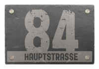 Hausnummer aus Schiefer mit Wunschtext 30 x 20 cm - Design Crushed