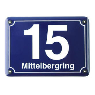 Emaille Hausnummer mit Straßenname - 21 x 14,8 cm blau / weiß