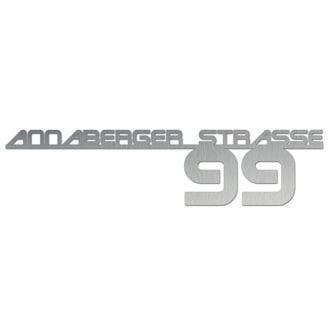Hausnummer aus Edelstahl mit Straßenname - Design Future II bis 21 Buchstaben